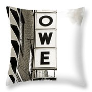 Lowe Drug Store Sign Bw Throw Pillow by Andee Design
