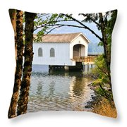 Lowell Covered Bridge Throw Pillow
