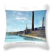 Lowell Massachusetts - Mills On The Merrimack River - 1910 Throw Pillow