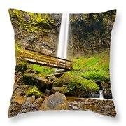 Lower Angle Of Elowah Falls In The Columbia River Gorge Of Oregon Throw Pillow