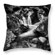 Lower Bridal Veil Falls 3 Bw Throw Pillow