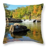Lower Falls And Stream Throw Pillow
