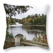 Lower Falls In Fall Throw Pillow