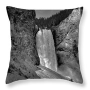 Lower Falls In Yellowstone In Black And White Throw Pillow