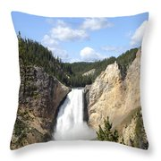 Lower Falls In Yellowstone National Park Throw Pillow