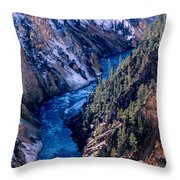 Lower Falls Into Yellowstone River Throw Pillow