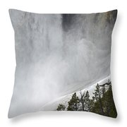 Lower Falls Of The Yellowstone Close-up In Spring Throw Pillow