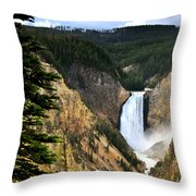 Lower Falls On The Yellowstone River Throw Pillow