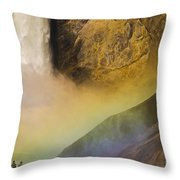 Lower Falls Rainbow - Yellowstone Throw Pillow