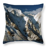Lower Gasherbrum Peaks Showing Glacial Throw Pillow