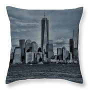Lower Manhattan And The Freedom Tower Throw Pillow