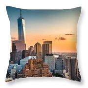 Lower Manhattan At Sunset Throw Pillow