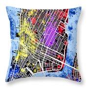 Lower Manhattan Map Throw Pillow