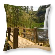 Lower South Waterfall With Footbridge In Oregon Columbia River Gorge. Throw Pillow