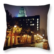 Lower Water Street In The Fog Halifax Nova Scotia Throw Pillow