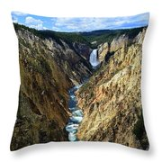 Lower Yellowstone Falls Panorama 2 Throw Pillow