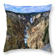 Lower Yellowstone Falls Panorama Throw Pillow