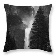 Lower Yosemite Falls Bw Throw Pillow