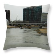 Lowhead Dam Removal Columbus Ohio Usa 14 Throw Pillow