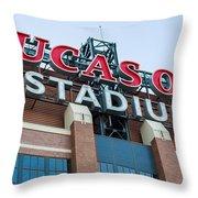 Lucas Oil Stadium Sign Throw Pillow by James Drake