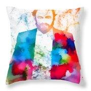 Luciano Pavarotti Paint Splatter Throw Pillow