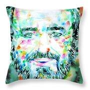 Luciano Pavarotti - Watercolor Portrait Throw Pillow
