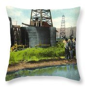 Lucille Derrick No 1  Sump Hole  Coalinga California Circa 1910 Throw Pillow