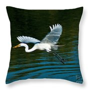 Lucky Egret Throw Pillow