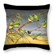 Lucky Seven - Gouldian Finches Throw Pillow
