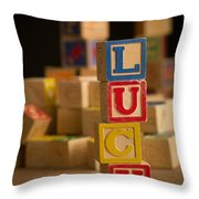 Lucy - Alphabet Blocks Throw Pillow