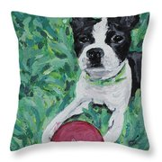 Lucy With Ball In Grass Throw Pillow