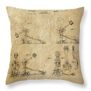 Ludwig Drum Pedal 3 Patent Art 1951 Throw Pillow