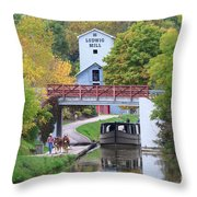 Ludwig Mill And Canal Boat  1480 Throw Pillow
