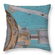 Lug Nut Wheel Left Turquoise And Copper Throw Pillow