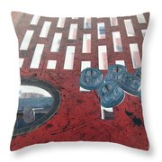 Lug Nuts On Grate And Circle H Throw Pillow