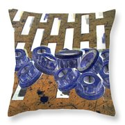 Lug Nuts On Grate Vertical Peach And Purple Throw Pillow