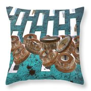 Lug Nuts On Grate Vertical Turquoise Copper Throw Pillow