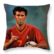 Luis Figo Throw Pillow by Paul Meijering