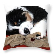 Lullaby Berner And Bunny Throw Pillow by Liane Weyers