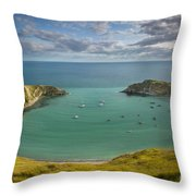 Lulworth Cove Evening Throw Pillow