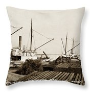 Lumber Steamers Unloading At Redwood Mfg. Co.s Wharf Pittsburg Circa 1920 Throw Pillow