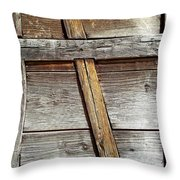 Lumber Work On The Side Of Old Cabin Throw Pillow