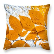 Luminescent Leaves Throw Pillow