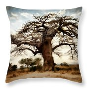 Luminous Sky And Tree Skeleton On The Prairie Throw Pillow