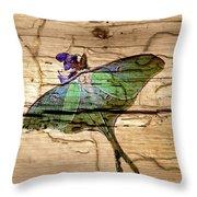 Luna Moth Worm Wood  Throw Pillow
