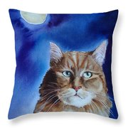 Lunar Cat Throw Pillow