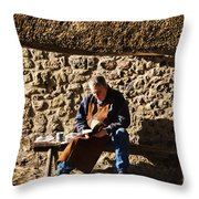 Lunch Break At The Forge Throw Pillow