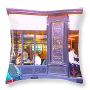 Lunch Time At The Cafe St Regis In Paris Throw Pillow