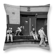 Lunch Time In Black And White Throw Pillow