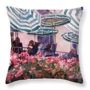 Lunch Under Umbrellas Throw Pillow by Kris Parins
